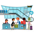 check in airport with lady on counter and man and vector image
