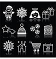Christmas Xmas celebrate white icons set on black vector image