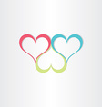 color hearts love symbol vector image vector image