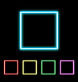 colorful neon square sign vector image vector image