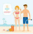 couple on beach ready for summer vector image vector image