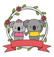 cute couple koalas animals wreath flowers vector image vector image