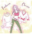 Decorative fashion pondered woman with clothes in vector image vector image