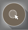 earth globe with cursor white icon on vector image vector image