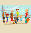 family travel in airport vector image vector image