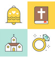 filled outline icon wedding at church topic vector image vector image