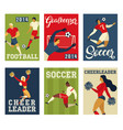 football soccer players and cheerleaders posters vector image