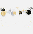 gold black and white christmas balls vector image