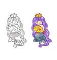 gorgeous mermaid with long purple gradient hair vector image vector image