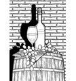 graphic glass wine bottle and grapes on the vector image