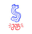 hand drawn doodle job dollar banknote icon design vector image