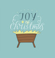 hand lettering joy of christmas with manger vector image vector image