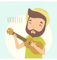 Happy guy with ukulele Cartoon character vector image