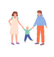 mother father and little son walking together vector image vector image