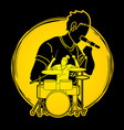 musician singing and playing drum music band vector image vector image