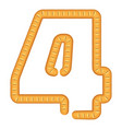 number four bread icon cartoon style vector image