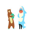 party costumes people dressed in onesies vector image