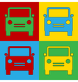 Pop art car icons vector image