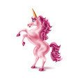 realistic pink unicorn with golden horn vector image