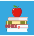 Red apple on a pile of books vector image vector image