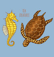 sea creature cheloniidae or green turtle and vector image