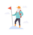 senior man character traveling with backpack vector image