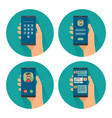 set icon with male holding smartphone color flat vector image