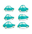 set of cartoon cars on different shapes vector image vector image