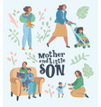 set of mother with son in different situations vector image