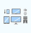 set of pc flat icons collection vector image vector image