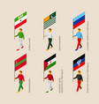 set of people with flags of disputed territories vector image