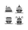 ships flat glyph icons cargo shipping tanker sea vector image
