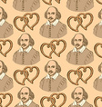 Sketch Shakespeare and hearts in vintage style vector image vector image