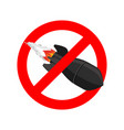 stop bombing bomb is forbidden ban air torpedo vector image vector image