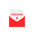 subscribe newsletter with red letter vector image vector image