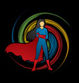 super hero woman standing arms across the chest vector image vector image