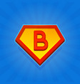Superhero logo icon with letter b on blue vector image