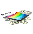 Tablet pc and money vector image vector image