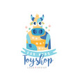 toyshop for kids logo design cute badge can be vector image vector image