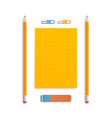 two orange realistic pencil lies with rubber and vector image vector image