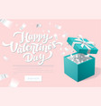 valentines day promo banner with open gift box and vector image vector image