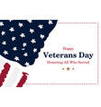 veterans day greeting card with usa flag on white vector image vector image