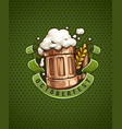 wooden beer mug with and froth vector image vector image