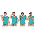 young man gestures set vector image