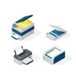 Isometric office equipment vector image