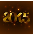Isolated golden shiny ribbons text 2015 on brown vector image