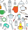 Kitchen items colorful pattern icons vector image