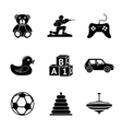 Toys icons set with - car duck bear pyramid vector image