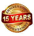 15 years anniversary golden label with ribbon