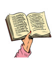 an open book in his hand reading and knowledge vector image vector image